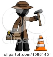 Black Detective Man Under Construction Concept Traffic Cone And Tools