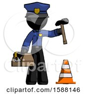 Black Police Man Under Construction Concept Traffic Cone And Tools