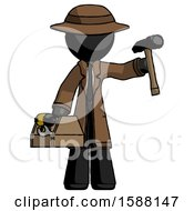 Black Detective Man Holding Tools And Toolchest Ready To Work