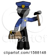 Black Police Man Holding Tools And Toolchest Ready To Work