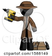 Black Detective Man Holding Drill Ready To Work Toolchest And Tools To Right