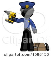 Black Police Man Holding Drill Ready To Work Toolchest And Tools To Right