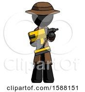 Black Detective Man Holding Large Drill