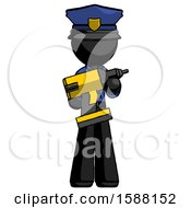 Black Police Man Holding Large Drill