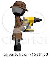 Black Detective Man Using Drill Drilling Something On Right Side