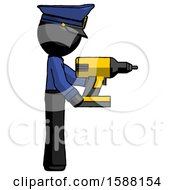 Black Police Man Using Drill Drilling Something On Right Side