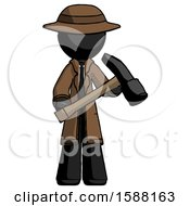 Black Detective Man Holding Hammer Ready To Work