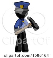 Black Police Man Holding Hammer Ready To Work