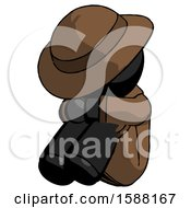 Black Detective Man Sitting With Head Down Facing Angle Left
