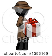 Black Detective Man Giving A Present