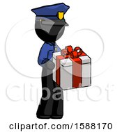 Black Police Man Giving A Present