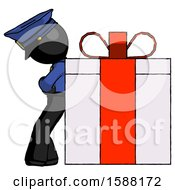 Black Police Man Gift Concept Leaning Against Large Present