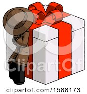 Black Detective Man Leaning On Gift With Red Bow Angle View