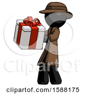 Black Detective Man Presenting A Present With Large Red Bow On It