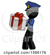 Black Police Man Presenting A Present With Large Red Bow On It