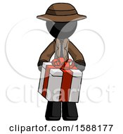 Black Detective Man Gifting Present With Large Bow Front View