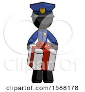 Black Police Man Gifting Present With Large Bow Front View