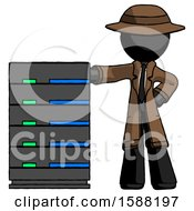 Black Detective Man With Server Rack Leaning Confidently Against It