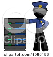 Black Police Man With Server Rack Leaning Confidently Against It