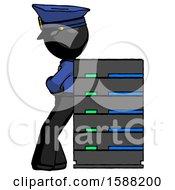 Black Police Man Resting Against Server Rack