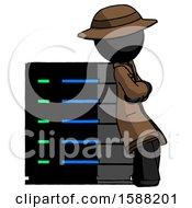 Black Detective Man Resting Against Server Rack Viewed At Angle