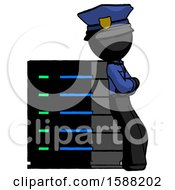 Black Police Man Resting Against Server Rack Viewed At Angle
