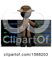 Black Detective Man With Server Racks In Front Of Two Networked Systems
