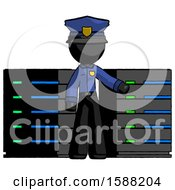 Black Police Man With Server Racks In Front Of Two Networked Systems
