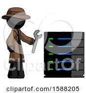 Black Detective Man Server Administrator Doing Repairs