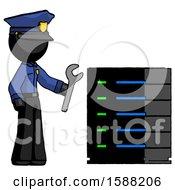Black Police Man Server Administrator Doing Repairs