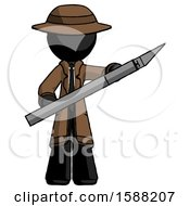 Black Detective Man Holding Large Scalpel