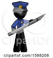 Black Police Man Holding Large Scalpel