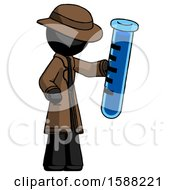 Black Detective Man Holding Large Test Tube