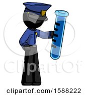Black Police Man Holding Large Test Tube