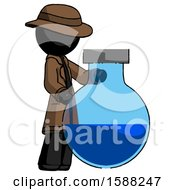 Black Detective Man Standing Beside Large Round Flask Or Beaker