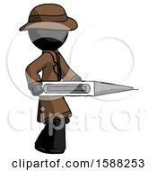 Black Detective Man Walking With Large Thermometer