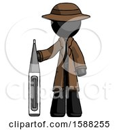 Black Detective Man Standing With Large Thermometer