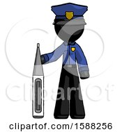 Black Police Man Standing With Large Thermometer