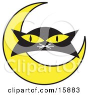 Poster, Art Print Of Black Cats Face With A Yellow Crescent Moon