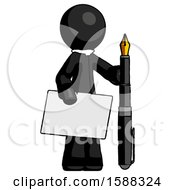 Black Clergy Man Holding Large Envelope And Calligraphy Pen