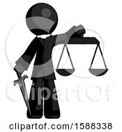 Black Clergy Man Justice Concept With Scales And Sword Justicia Derived
