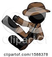Black Detective Man Flying Ninja Kick Left