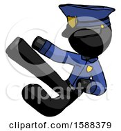 Black Police Man Flying Ninja Kick Left