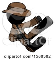 Black Detective Man Flying Ninja Kick Right