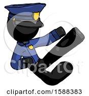 Black Police Man Flying Ninja Kick Right