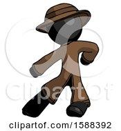 Black Detective Man Karate Defense Pose Left