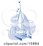 Sailing Catamaran Clipart Illustration by Andy Nortnik #COLLC15884-0031