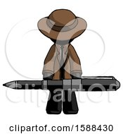 Black Detective Man Weightlifting A Giant Pen