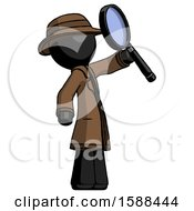 Black Detective Man Inspecting With Large Magnifying Glass Facing Up