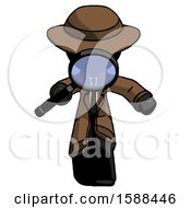 Black Detective Man Looking Down Through Magnifying Glass